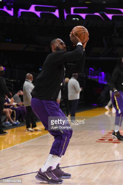 LeBron James of the Los Angeles Lakers warms up before the game against the Phoenix Suns during Round 1, Game 3 of the 2021 NBA Playoffs on May 27,...