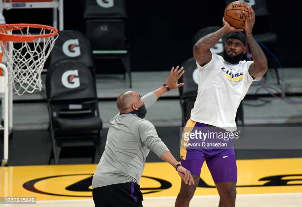 LeBron James of the Los Angeles Lakers warms up before the start of a basketball game against the Sacramento Kings at Staples Center on April 30,...