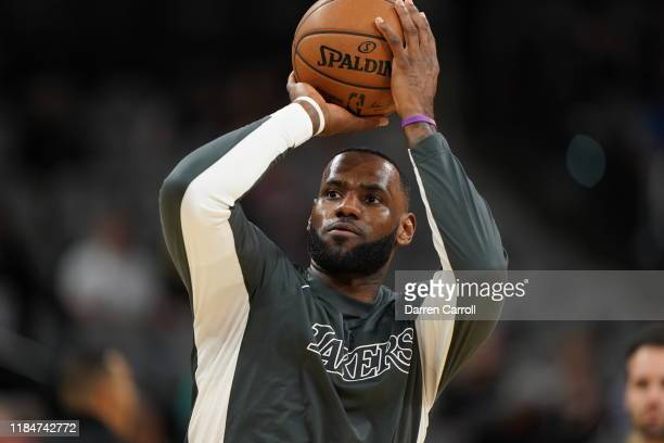 LeBron James of the Los Angeles Lakers warms up prior to a game against the San Antonio Spurs on November 25, 2019 at the AT&T Center in San Antonio,...
