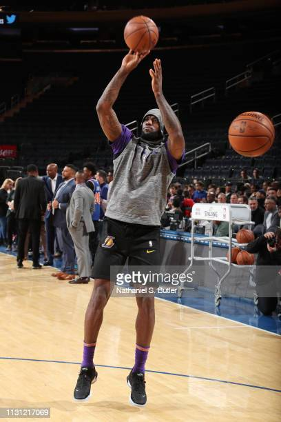 LeBron James of the Los Angeles Lakers warms up prior to the game against the New York Knicks on March 17 2019 at Madison Square Garden in New York...