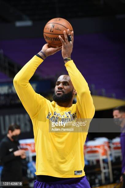 LeBron James of the Los Angeles Lakers warms up prior to the game against the Portland Trail Blazers on February 26, 2021 at STAPLES Center in Los...
