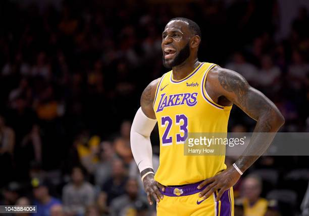 LeBron James of the Los Angeles reacts during a preseason game against the Denver Nuggets at Valley View Casino Center on September 30, 2018 in San...