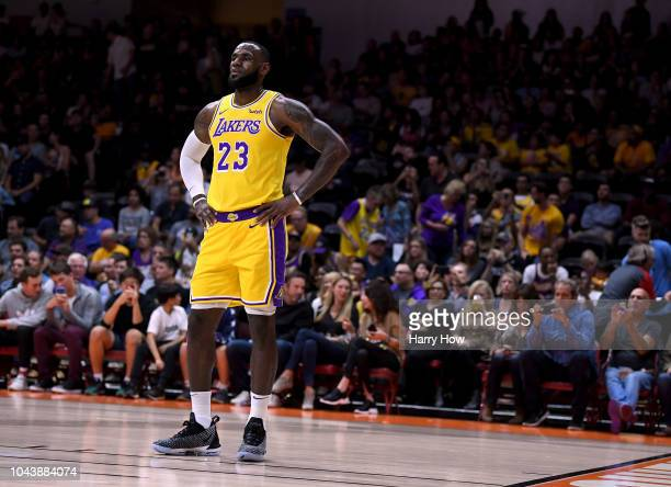 LeBron James of the Los Angeles waits during a preseason game against the Denver Nuggets at Valley View Casino Center on September 30 2018 in San...