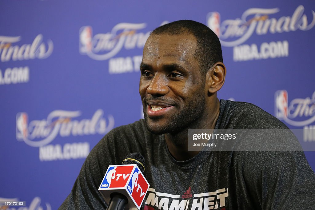 LeBron James #6 of the Miami Heat addresses the media as part of the 2013 NBA Finals on June 8, 2013 at American Airlines Arena in Miami, Florida.