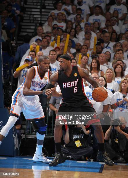 LeBron James of the Miami Heat against Kevin Durant of the Oklahoma City Thunder during Game Two of the 2012 NBA Finals at Chesapeake Energy Arena on...