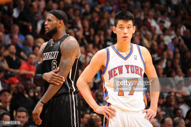 LeBron James of the Miami Heat and Jeremy Lin of the New York Knicks look on during the game on February 23, 2012 at American Airlines Arena in...