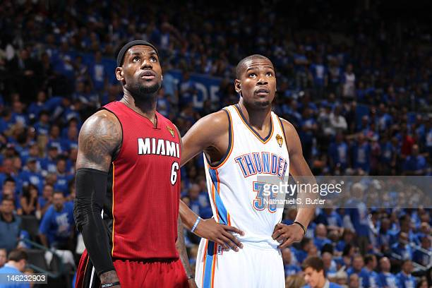 LeBron James of the Miami Heat and Kevin Durant of the Oklahoma City Thunder during Game One of the 2012 NBA Finals at Chesapeake Energy Arena on...