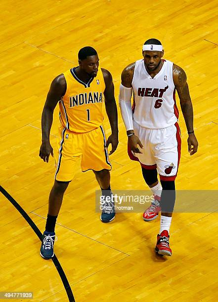 LeBron James of the Miami Heat and Lance Stephenson of the Indiana Pacers match up during Game Six of the Eastern Conference Finals of the 2014 NBA...