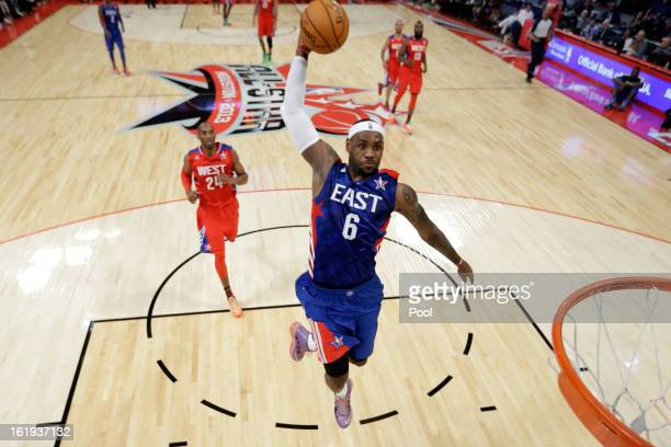 LeBron James of the Miami Heat and the Eastern Conference dunks the ball during the 2013 NBA AllStar game at the Toyota Center on February 17 2013 in...