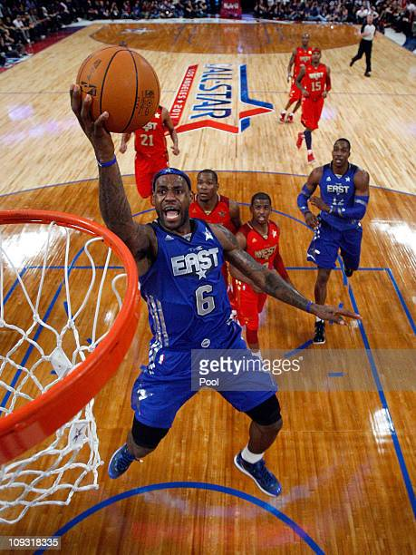 LeBron James of the Miami Heat and the Eastern Conference goes up for a layup in the 2011 NBA AllStar Game at Staples Center on February 20 2011 in...