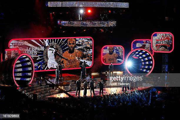 LeBron James of the Miami Heat and the Eastern Conference is introduced before the 2013 NBA All-Star game at the Toyota Center on February 17, 2013...