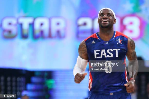 LeBron James of the Miami Heat and the Eastern Conference smiles in the first half during the 2013 NBA AllStar game at the Toyota Center on February...