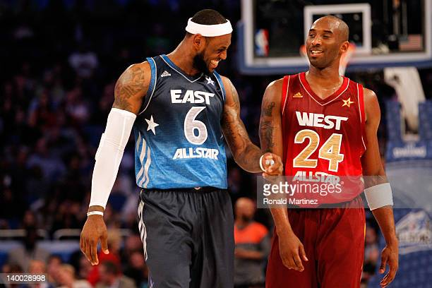 LeBron James of the Miami Heat and the Eastern Conference talks with Kobe Bryant of the Los Angeles Lakers and the Western Conference during the 2012...