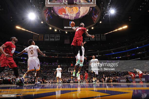 LeBron James of the Miami Heat attempts a dunk during a game against the Los Angeles Lakers at STAPLES Center on December 25 2013 in Los Angeles...