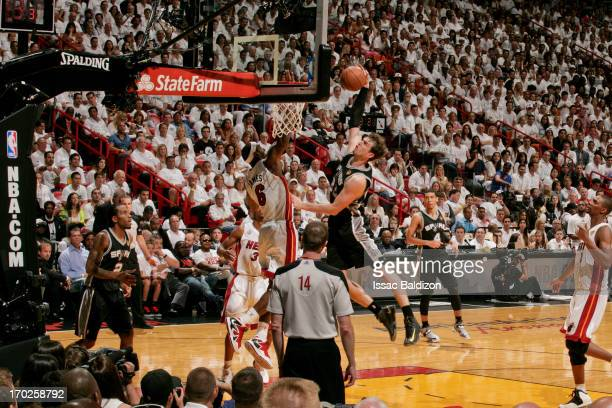 LeBron James of the Miami Heat blocks a dunk attempt by Tiago Splitter of the San Antonio Spurs during Game Two of the 2013 NBA Finals on June 9 2013...