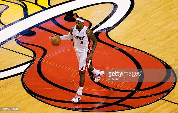 LeBron James of the Miami Heat brings the ball up court against the Boston Celtics in Game Five of the Eastern Conference Finals in the 2012 NBA...