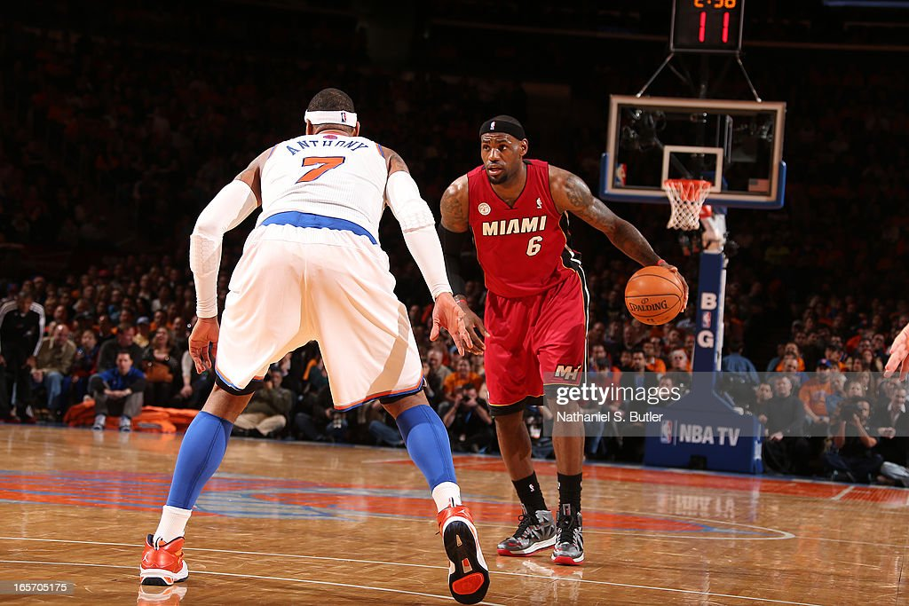 LeBron James #6 of the Miami Heat brings the ball up court against the New York Knicks on March 3, 2013 at Madison Square Garden in New York City.