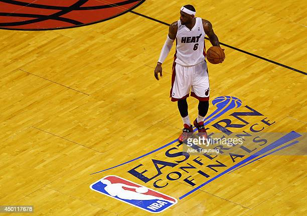 LeBron James of the Miami Heat brings the ball up the floor against the Indiana Pacers during Game Three of the Eastern Conference Finals of the 2014...
