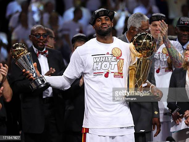 LeBron James of the Miami Heat celebrates after defeating the San Antonio Spurs 9588 to win Game Seven of the 2013 NBA Finals at AmericanAirlines...