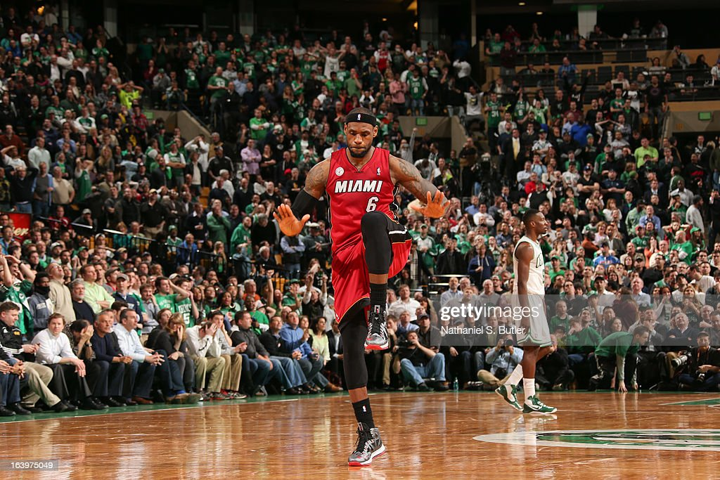LeBron James #6 of the Miami Heat celebrates after making a go-ahead shot late in the fourth quarter against the Boston Celtics on March 18, 2013 at TD Garden in Boston, Massachusetts.
