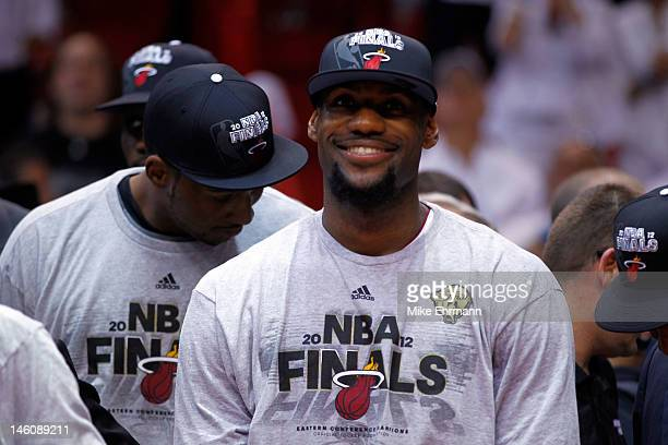 LeBron James of the Miami Heat celebrates after the Heat defeat the Boston Celtics 101-88 and adcance to the NBA Finals in Game Seven of the Eastern...