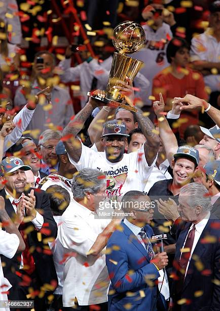 LeBron James of the Miami Heat celebrates with the Larry O'Brien Finals Championship trophy after they won 121106 against the Oklahoma City Thunder...