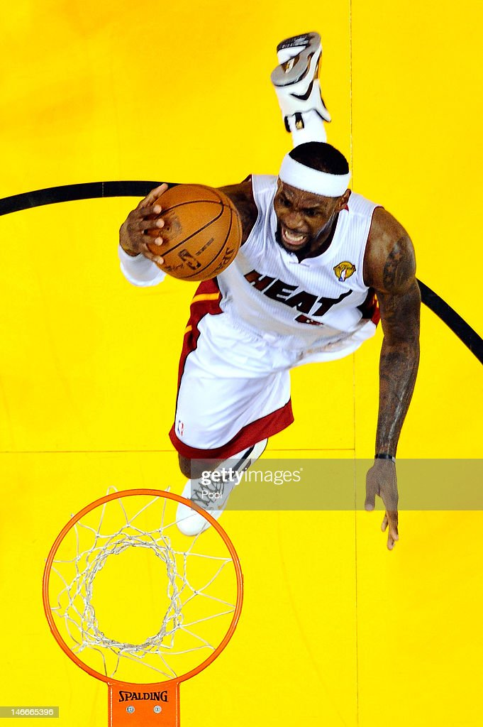 LeBron James #6 of the Miami Heat drives for a shot attempt against Oklahoma City Thunder in Game Five of the 2012 NBA Finals on June 21, 2012 at American Airlines Arena in Miami, Florida.