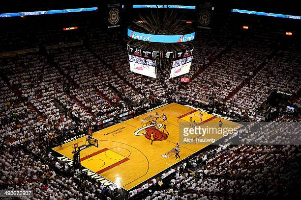 LeBron James of the Miami Heat drives the ball down court against the Indiana Pacers during Game Three of the Eastern Conference Finals of the 2014...