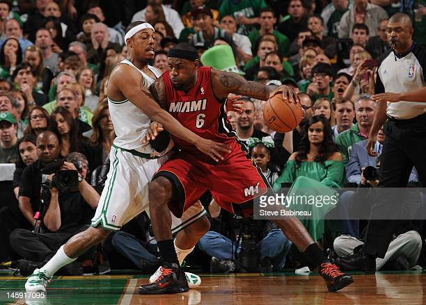 LeBron James of the Miami Heat drives to the basket against Paul Pierce of the Boston Celtics in Game Six of the Eastern Conference Finals during the...