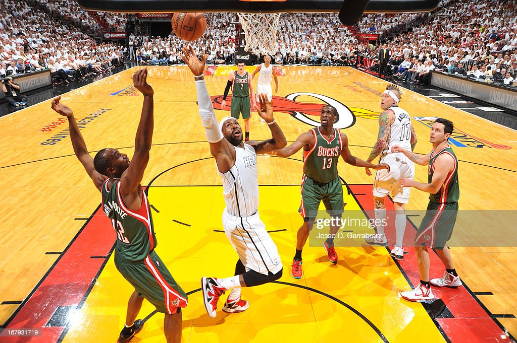 LeBron James #6 of the Miami Heat drives to the basket against the Milwaukee Bucks in Game One of the Eastern Conference Quarterfinals during the 2013 NBA Playoffs on April 21, 2013 at American Airlines Arena in Miami, Florida.