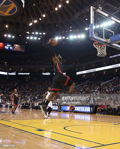 LeBron James of the Miami Heat drives to the basket against the Golden State Warriors on January 16, 2013 at Oracle Arena in Oakland, California....