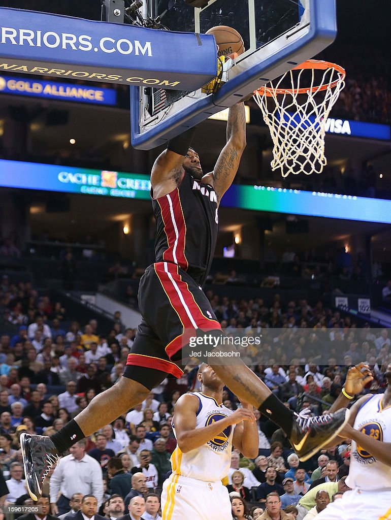 LeBron James #6 of the Miami Heat drives to the basket against the Golden State Warriors on January 16, 2013 at Oracle Arena in Oakland, California.
