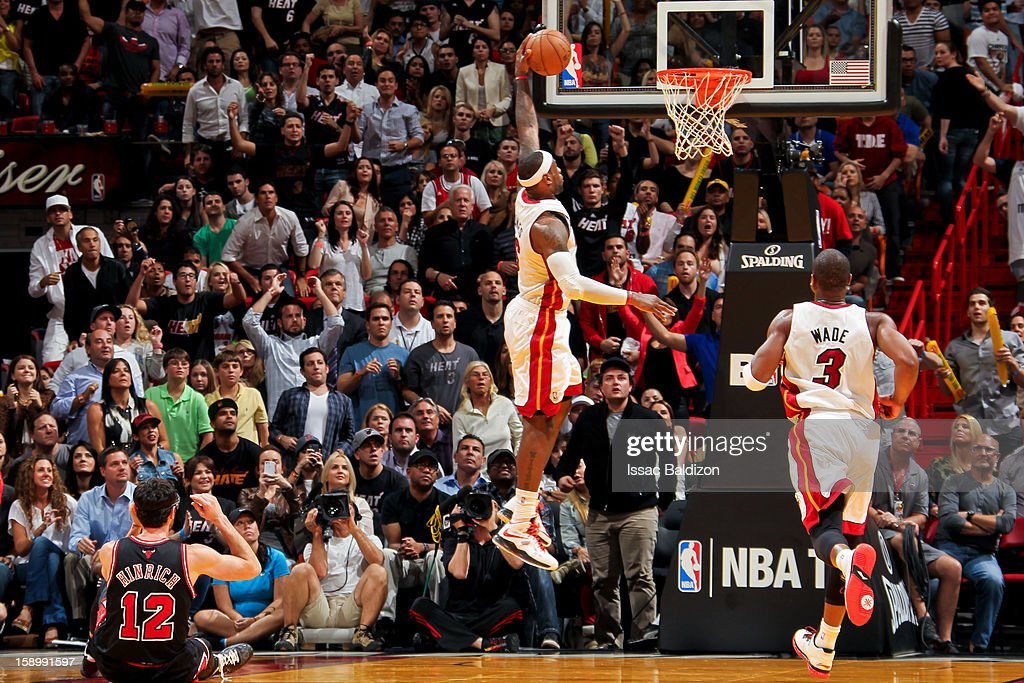LeBron James #6 of the Miami Heat dunks against the Chicago Bulls on January 4, 2013 at American Airlines Arena in Miami, Florida.