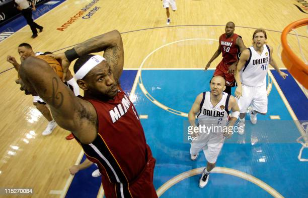LeBron James of the Miami Heat dunks against the Dallas Mavericks in Game Three of the 2011 NBA Finals at American Airlines Center on June 5 2011 in...