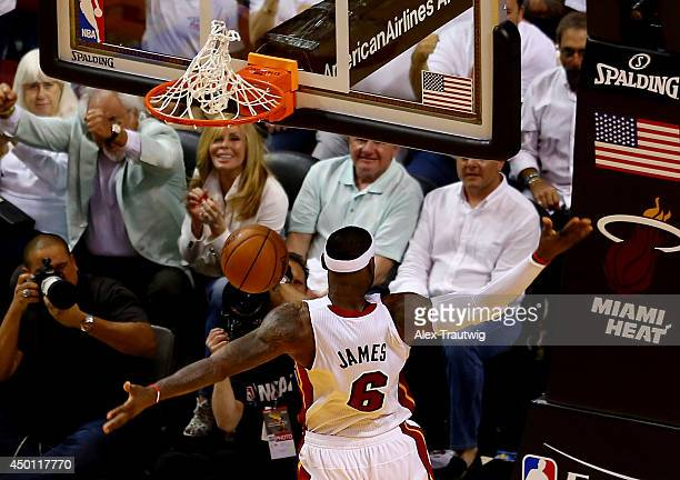 LeBron James of the Miami Heat dunks against the Indiana Pacers during Game Three of the Eastern Conference Finals of the 2014 NBA Playoffs at...