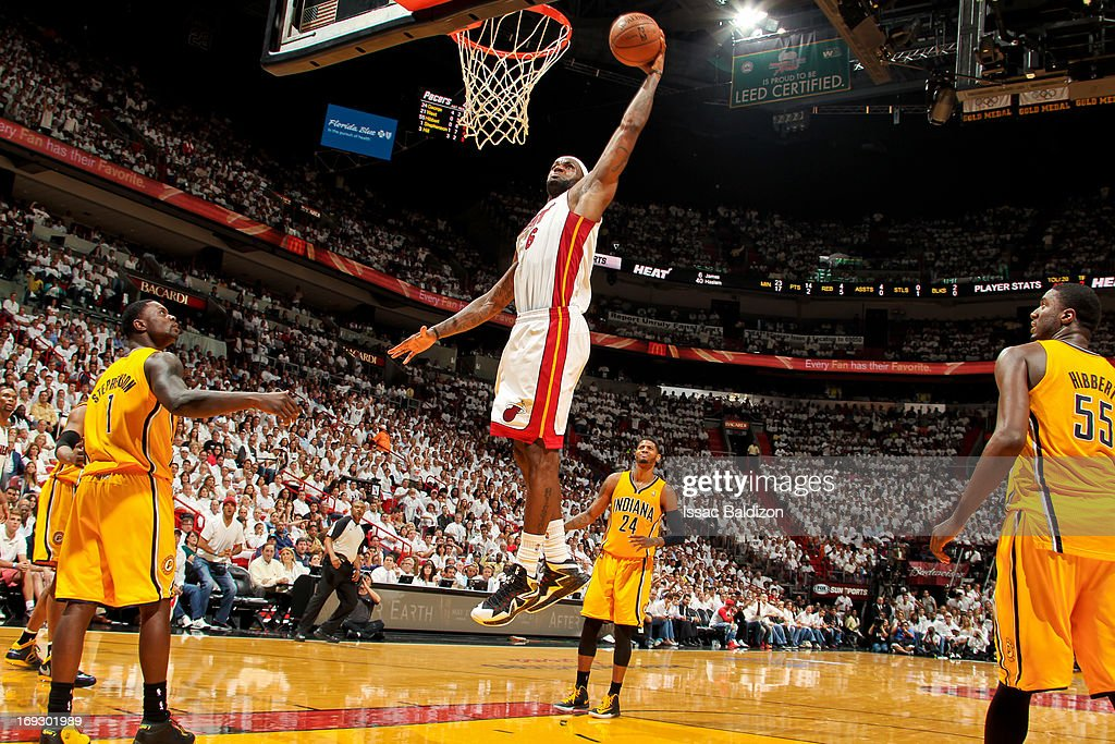 LeBron James #6 of the Miami Heat dunks against the Indiana Pacers in Game One of the Eastern Conference Finals during the 2013 NBA Playoffs on May 22, 2013 at American Airlines Arena in Miami, Florida.