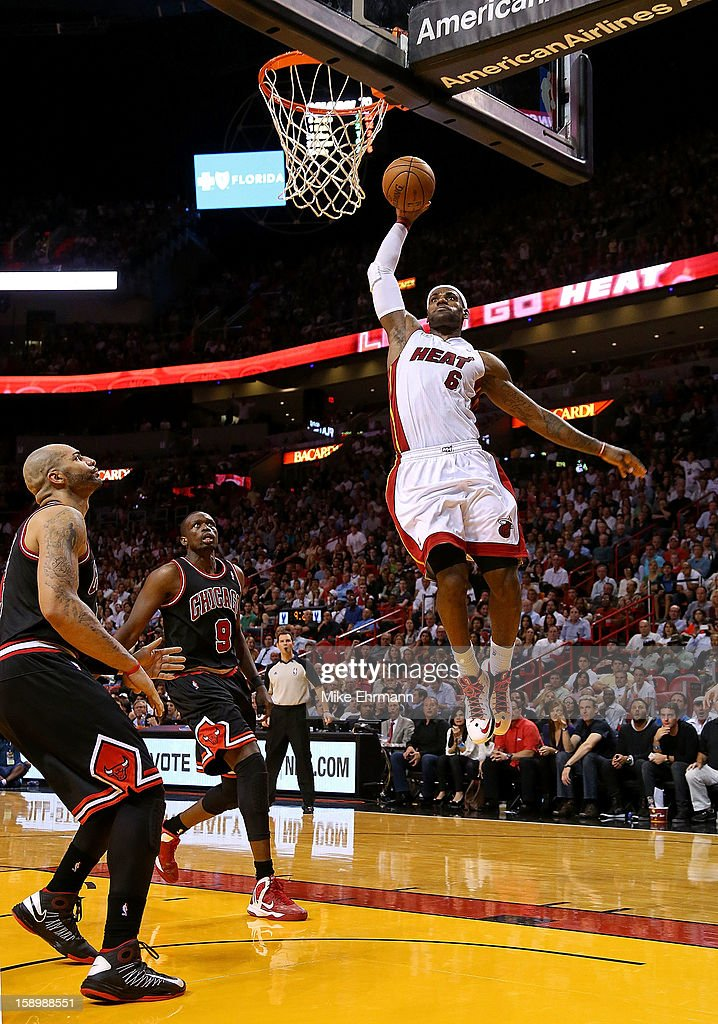 LeBron James #6 of the Miami Heat dunks during a game against the Chicago Bulls at American Airlines Arena on January 4, 2013 in Miami, Florida.