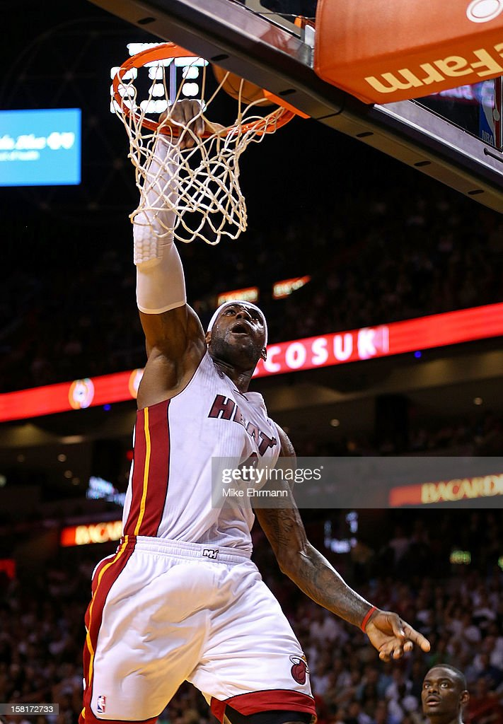 LeBron James #6 of the Miami Heat dunks during a game against the Atlanta Hawks at American Airlines Arena on December 10, 2012 in Miami, Florida.