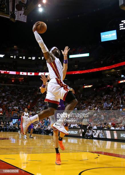 LeBron James of the Miami Heat dunks during a game against the Phoenix Suns at AmericanAirlines Arena on November 5 2012 in Miami Florida