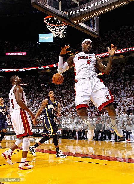 LeBron James of the Miami Heat dunks during Game Five of the Eastern Conference Semifinals in the 2012 NBA Playoffs against the Indiana Pacers at...