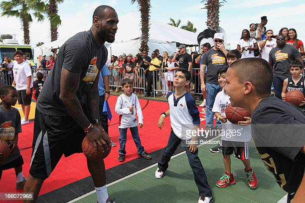 LeBron James of the Miami Heat enjoys the Miami Heat Family Festival on April 7 2012 at American Airlines Arena in Miami Florida NOTE TO USER User...