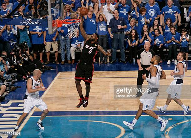 LeBron James of the Miami Heat flies in for the dunk against Jason Kidd of the Dallas Mavericks in Game Five of the 2011 NBA Finals on June 9 2011 at...