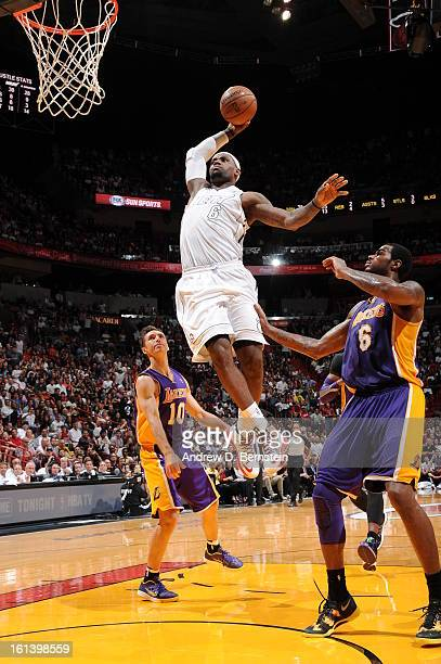 LeBron James of the Miami Heat goes to the basket during a game between the Los Angeles Lakers and the Miami Heat on February 10 2013 at American...