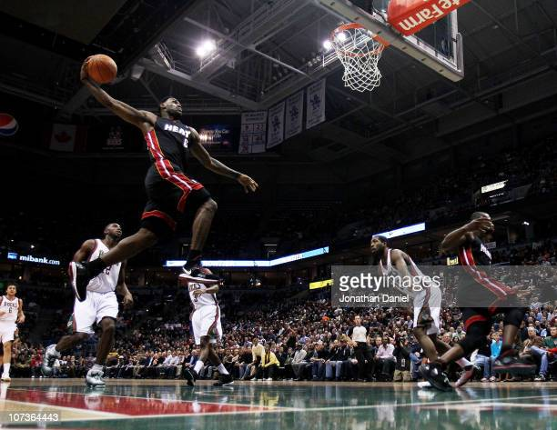 LeBron James of the Miami Heat goes up for a dunk against the Milwaukee Bucks at the Bradley Center on December 6 2010 in Milwaukee Wisconsin NOTE TO...