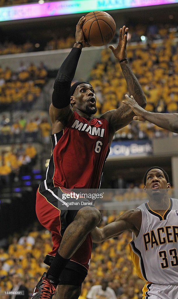 LeBron James #6 of the Miami Heat goes up for a shot over Danny Granger #33 of the Indiana Pacers in Game Three of the Eastern Conference Semifinals in the 2012 NBA Playoffs at Bankers Life Fieldhouse on May 17, 2012 in Indianapolis, Indiana.