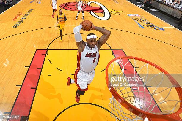 LeBron James of the Miami Heat goes up for the dunk against the Indiana Pacers in Game Three of the Eastern Conference Semifinals during the 2014 NBA...