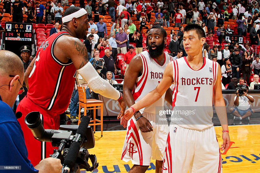 LeBron James #6 of the Miami Heat greets Jeremy Lin #7 and James Harden #13 of the Houston Rockets following their game on February 6, 2013 at American Airlines Arena in Miami, Florida.