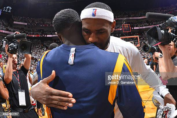 LeBron James of the Miami Heat hugs Lance Stephenson of the Indiana Pacers in Game Six of the Eastern Conference Finals during the 2014 NBA Playoffs...