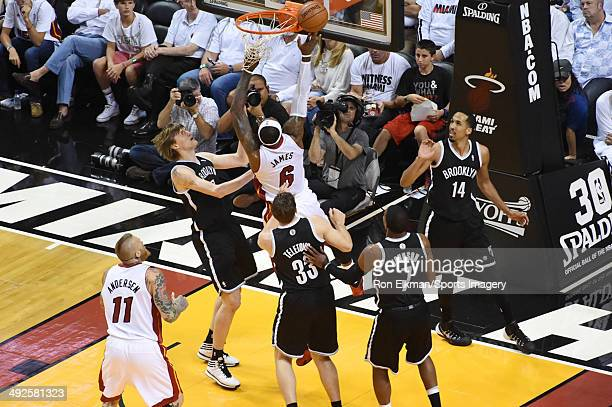 LeBron James of the Miami Heat in action during a game against the Brooklyn Nets in Game Five of the Eastern Conference Semifinals of the 2014 NBA...