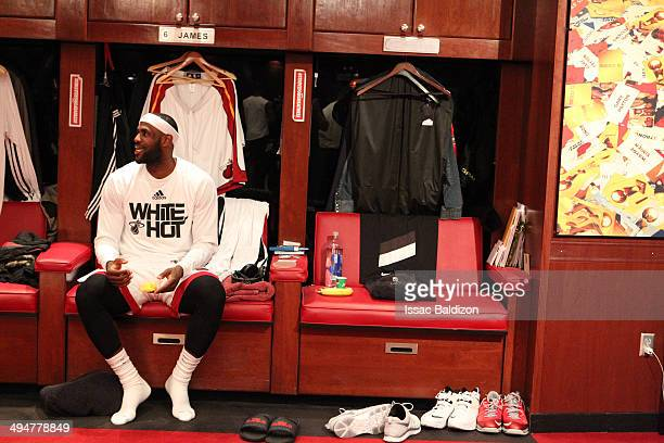 LeBron James of the Miami Heat in the locker room before Game Six of the Eastern Conference Finals against the Indiana Pacers during the 2014 NBA...
